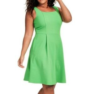 London Times Dress 20W Green Fit and Flare B35-09P